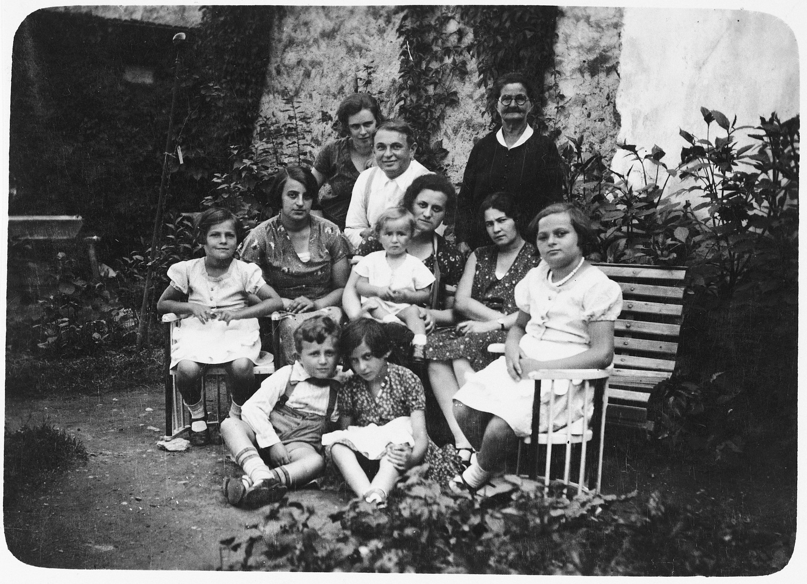 Prewar portrait of the Mittelman family in the garden of their home in Brezno.  Josef Mittelman is seated in the front row.  Also pictured are his parents and paternal grandmother.