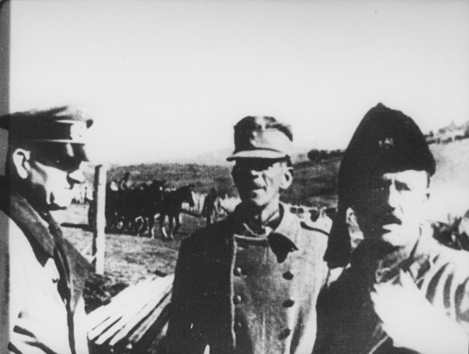 German General Major Friedrich Stahl stands alongside an Ustasa officer and Chetnik Commander Rade Radic in central Bosnia.