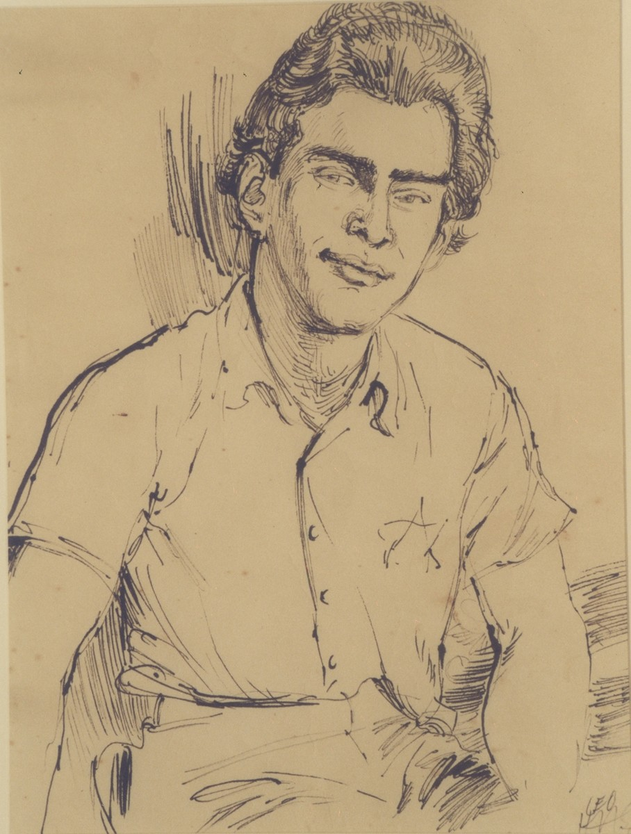 Portrait of Edgar Krasa drawn by Leo Haas in Theresienstadt.