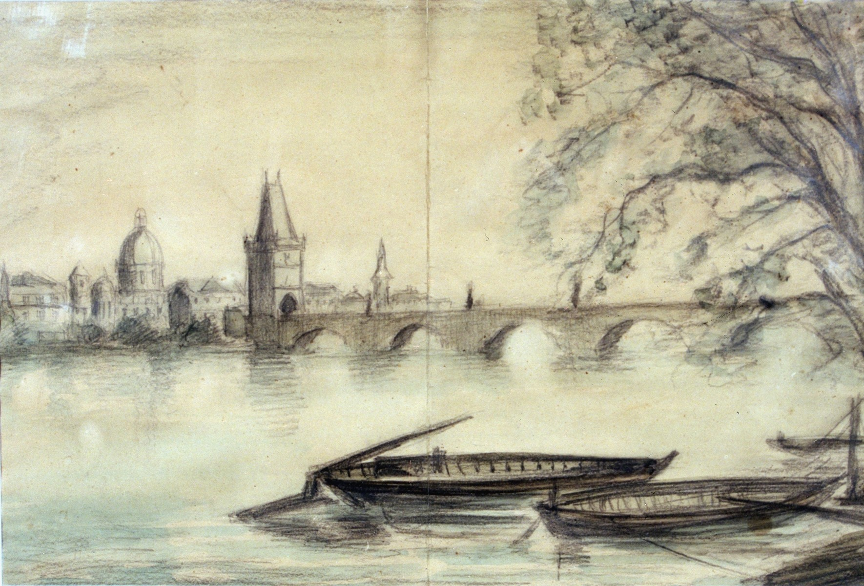 Painting of the Vltava River in Prague drawn from a photograph by Theresienstadt prisoner Bedrich Fritta.
