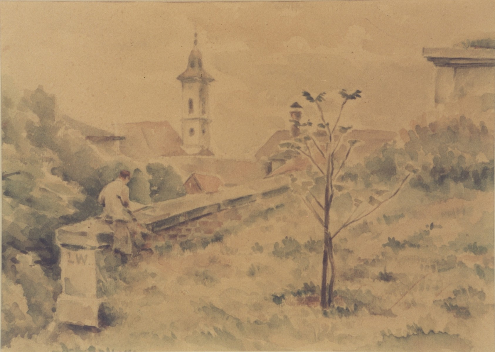 Watercolor landscape of Theresienstadt painted by Otto Samisch.