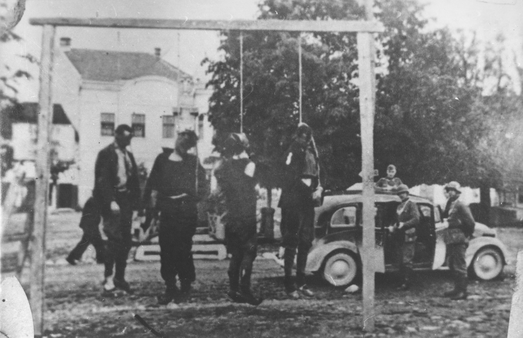 Public hanging of Serbian civilians by German troops in the village of Uzicka Pozega, Serbia.