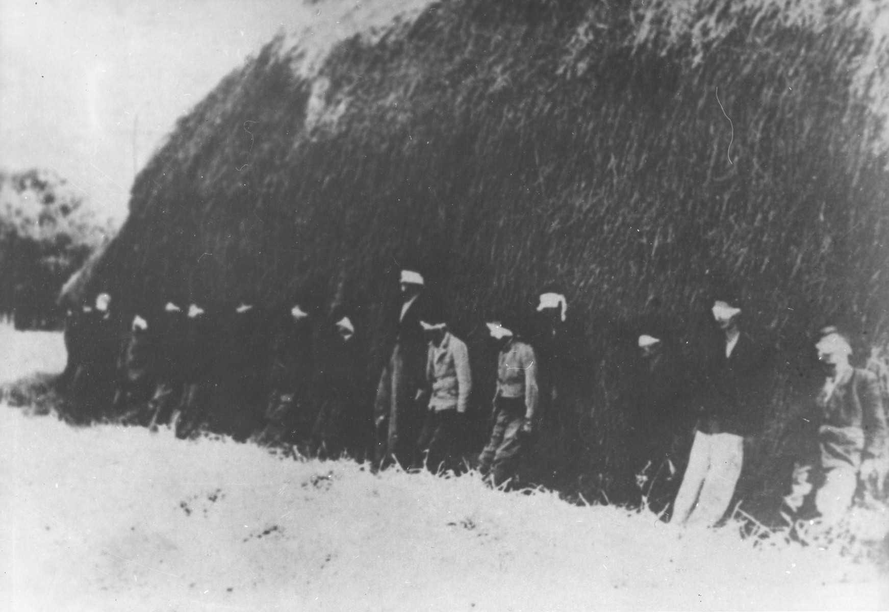 Sixteen blindfolded partisan youth await execution by German forces in Smederevska Palanka, Serbia.  A German soldier was widely reported to have been executed along with the partisans for refusing to take part in the action.  However, in actuality he died from wounds he suffered the previous day.