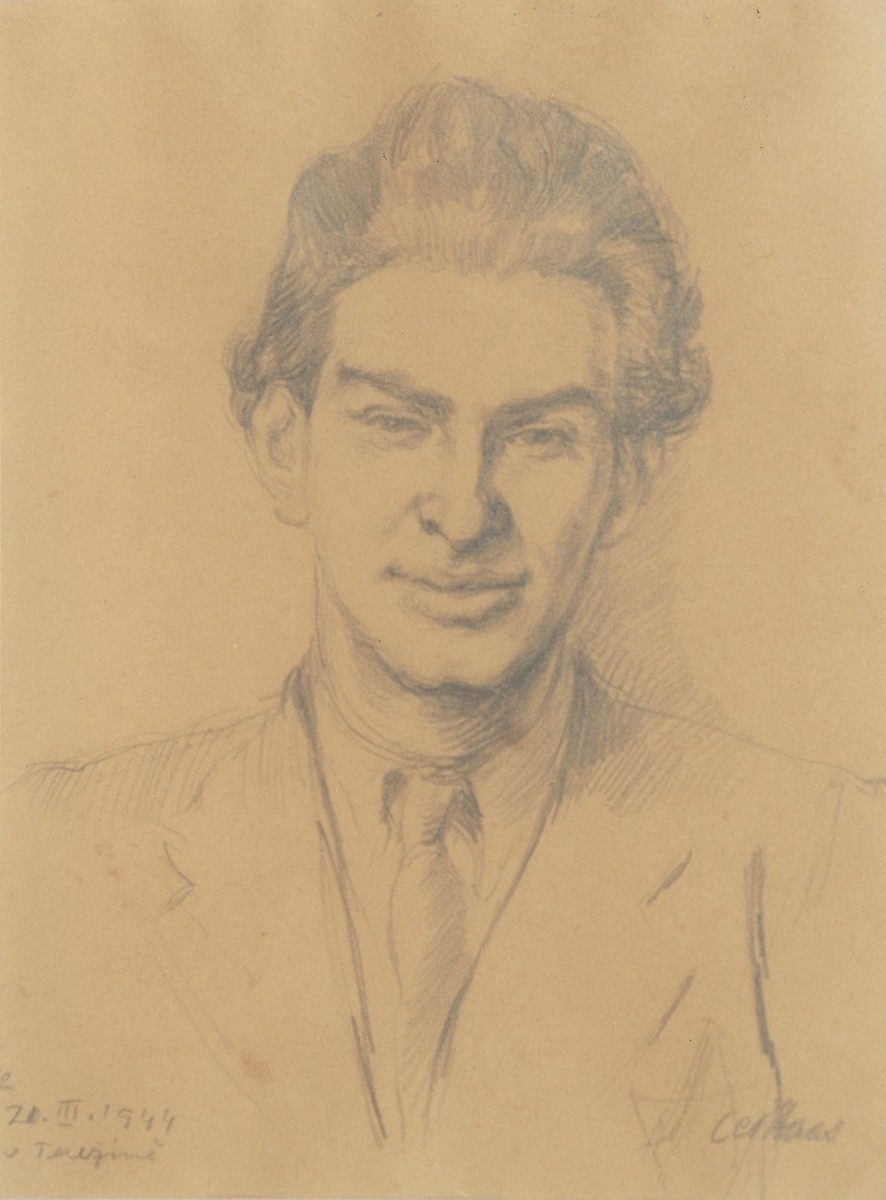 Portrait of Edgar Krasa drawn by Leo Haas in Theresienstadt and given to Krasa's mother as a birthday present.