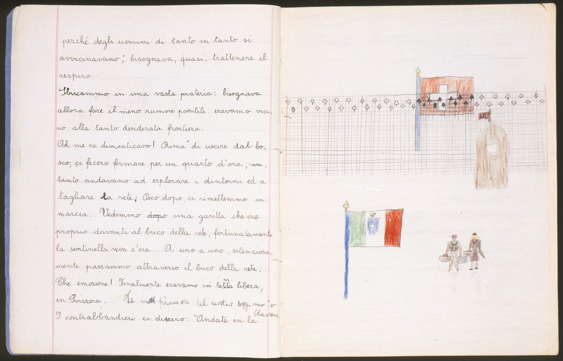 "Illustrated page of a child's diary written in a Swiss refugee camp.    The diary entry describes how they crossed the border into Switzerland. The text reads, ""We came out of the woods and into a clearing: we had to be as quiet as possible because we were so close to the border.  Oh!  I almost forgot!  Before we came out of the woods, they made us stand still for a quarter of an hour while they went to explore the area and to cut through the fence. Fortunately, shortly thereafter, we began to walk again.  We saw a small guard station that was literally in front of the hole in the fence, fortunately the guard was not there.  One by one, silently, we went through the hole in the fence.  What emotion!  Finally, we were in free territory, in Switzerland."""