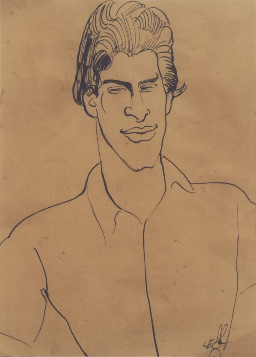 Caricature of Edgar Krasa drawn by Leo Haas in Theresienstadt.