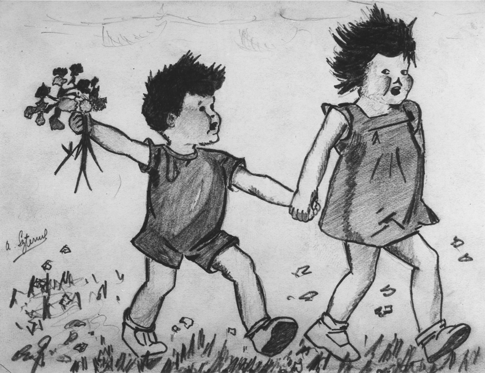 Sketch of two young children drawn by Aba Sztern in the Beaune-la-Rolande transit camp.