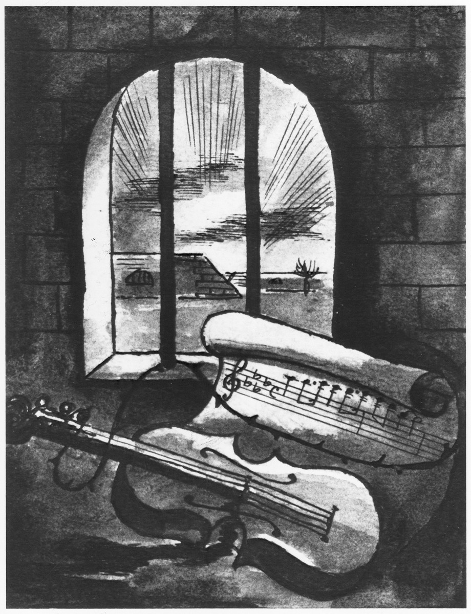 Still life of a violin and sheet of music behind prison bars by Bedrich Fritta.  This drawing was given to Edgar Krasa as a birthday gift.  The rays of sunlight outside the prison window indicate hope for a better future.