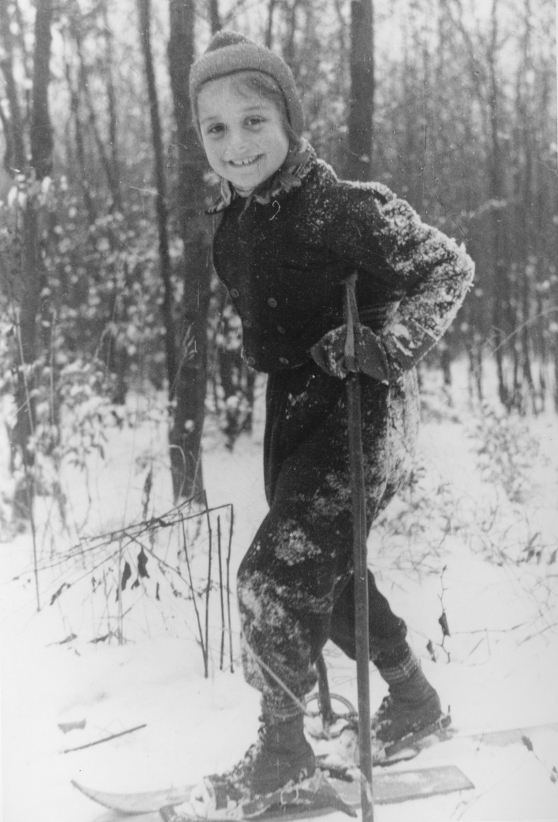 Portrait of a Jewish girl skiing in the woods near Kassel, Germany.  Pictured is Dorrith Oppenheim.