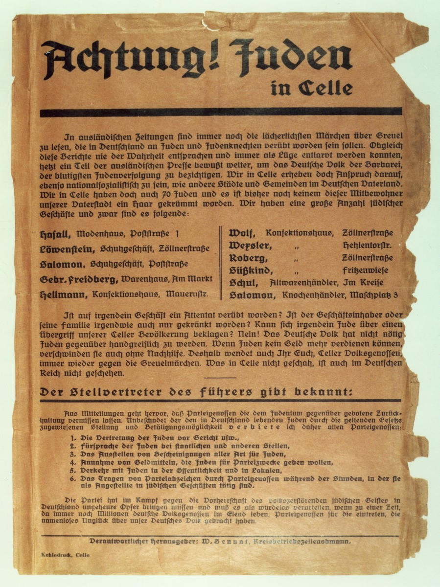Announcement issued by the Nazi organization in Celle calling upon local citizens not to shop in the Jewish stores listed.  The handbill also forbids NSDAP party members to represent Jews in court, to vouch for Jews in any way, to collect funds offered by Jews for party purposes, to meet with Jews in public or socialize with them in pubs, and to wear party insignia while working in Jewish-owned businesses.