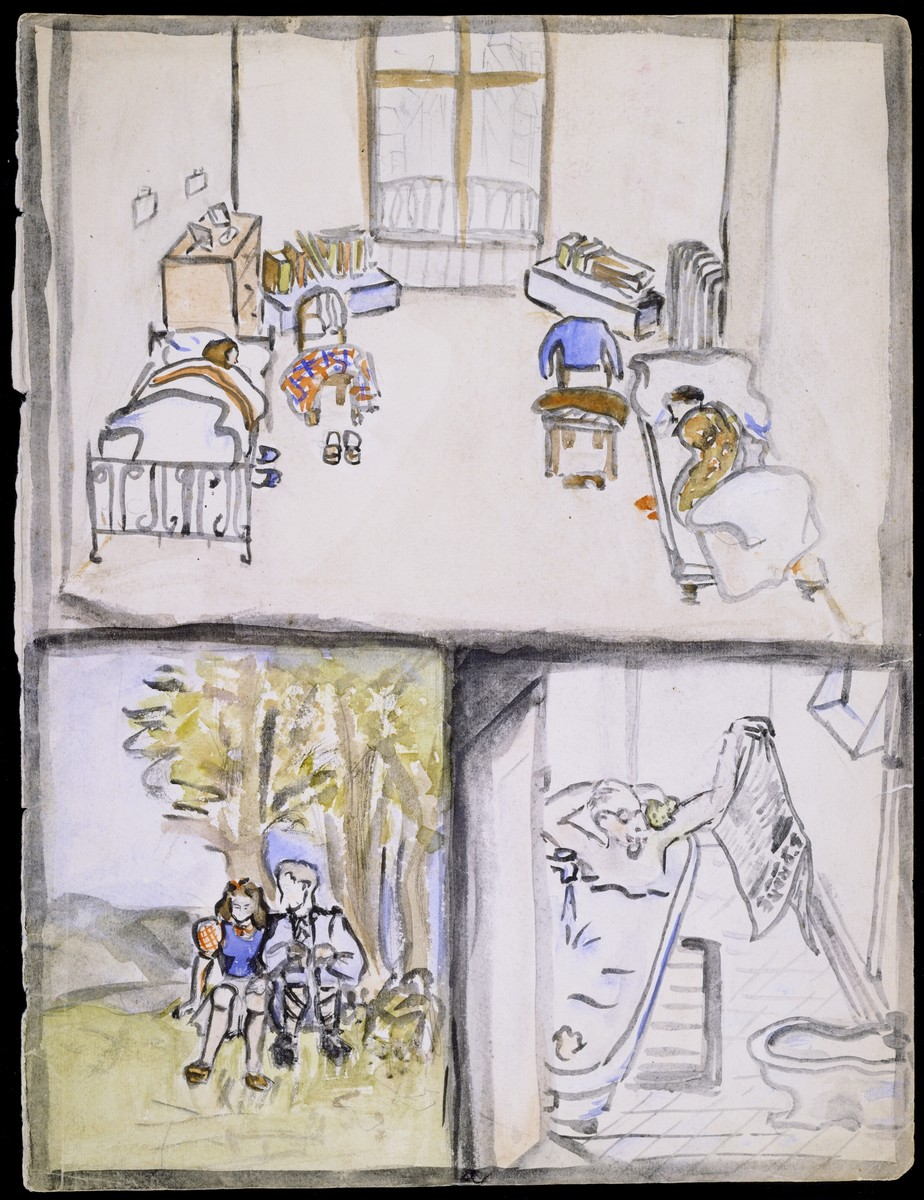 """A page of a sketchbook created by Elizabeth Kaufmann during her stay in Nazi-occupied France.   The page is divided into three colored drawings entitled """"Elizabeth and Vilma in beds""""; Elizabeth and Ernst under a tree""""; and """"Father in bathtub."""" (Composite page)"""