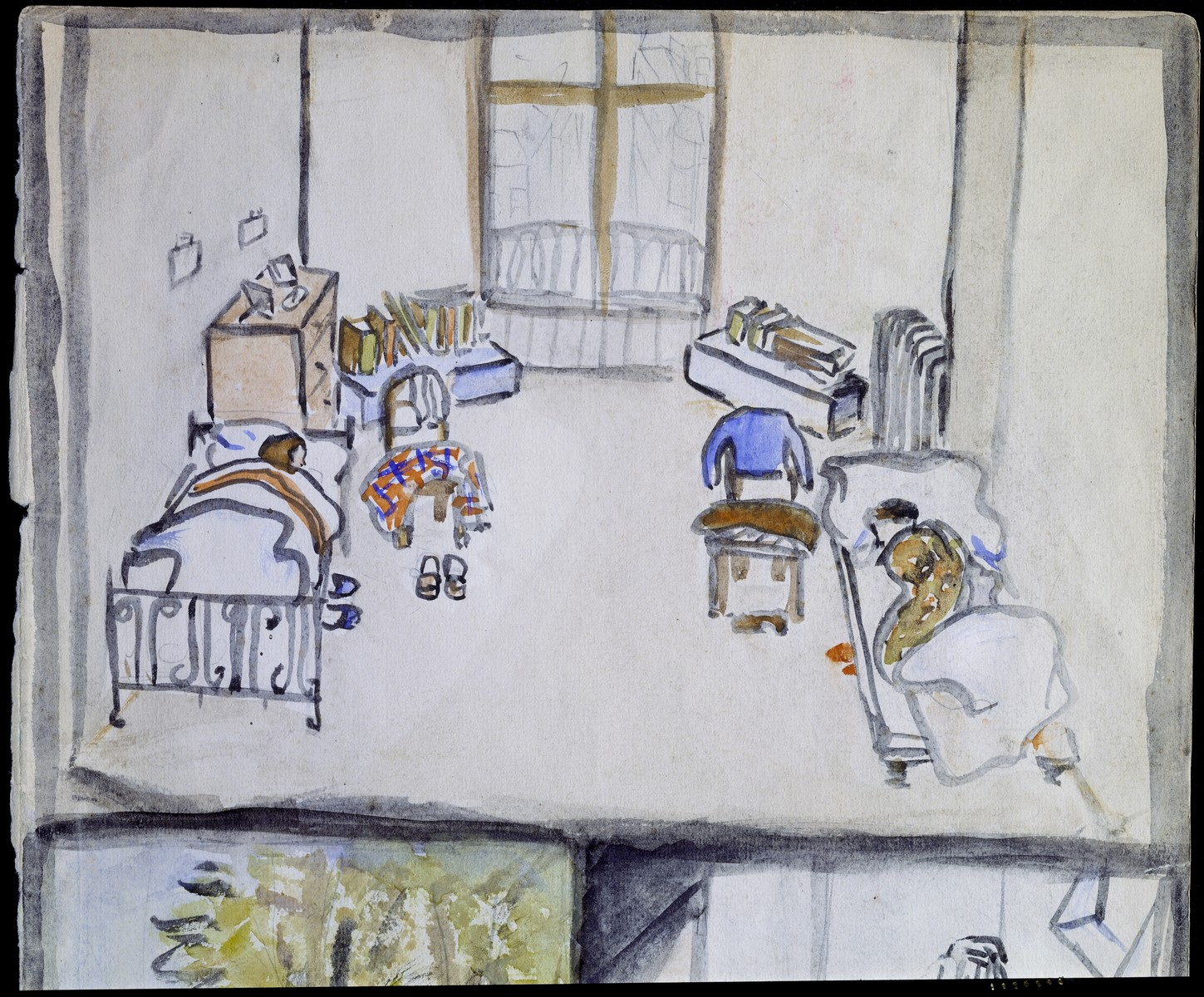 """Detail of a page of a sketchbook created by Elizabeth Kaufmann during her stay in Nazi-occupied France.   The detail is of an image entitled """"Elizabeth and Vilma in beds."""""""