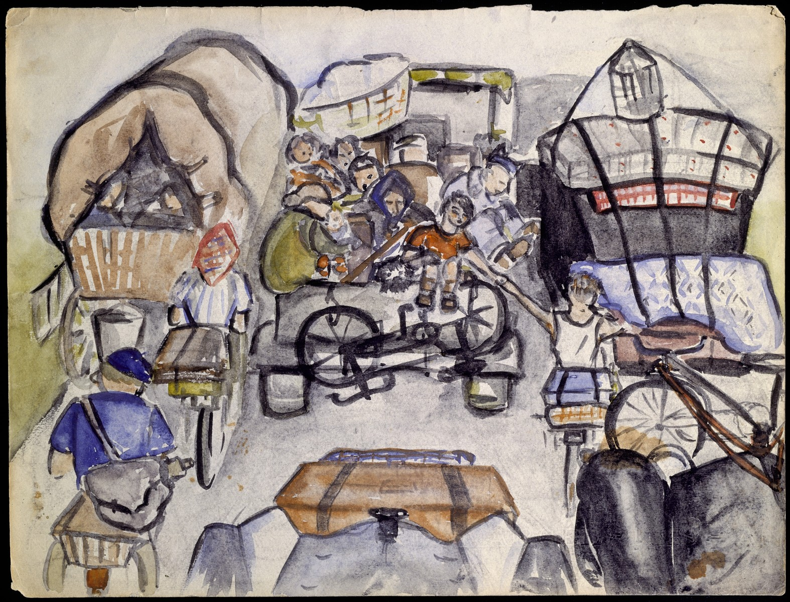 "A page of a sketchbook created by Elizabeth Kaufmann during her stay in Nazi-occupied France.   The drawing is entitled ""People fleeing Paris."""