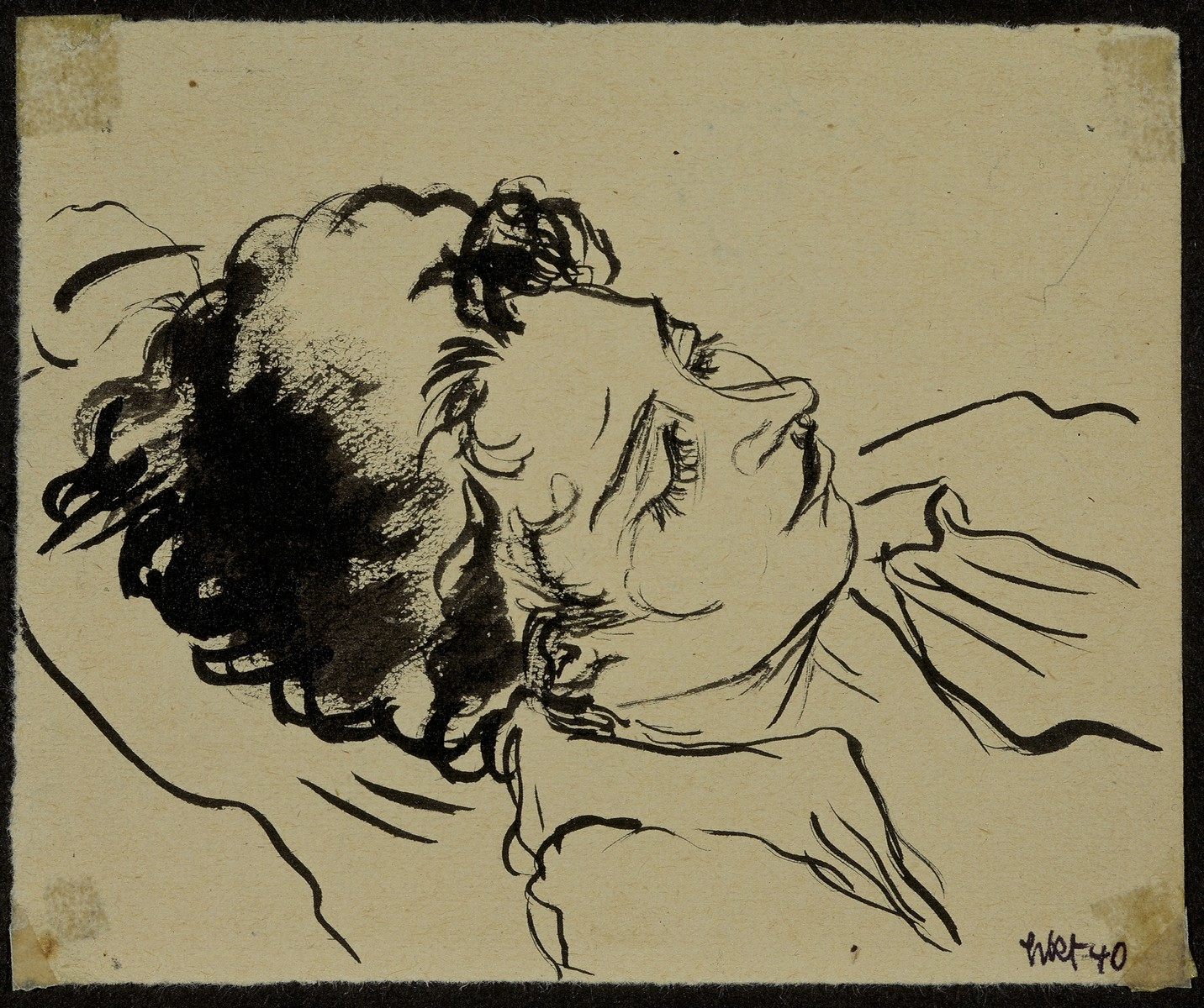 """""""Sleeping Inmate"""" by Lili Andrieux.  Sketch of head and shoulders of woman asleep."""