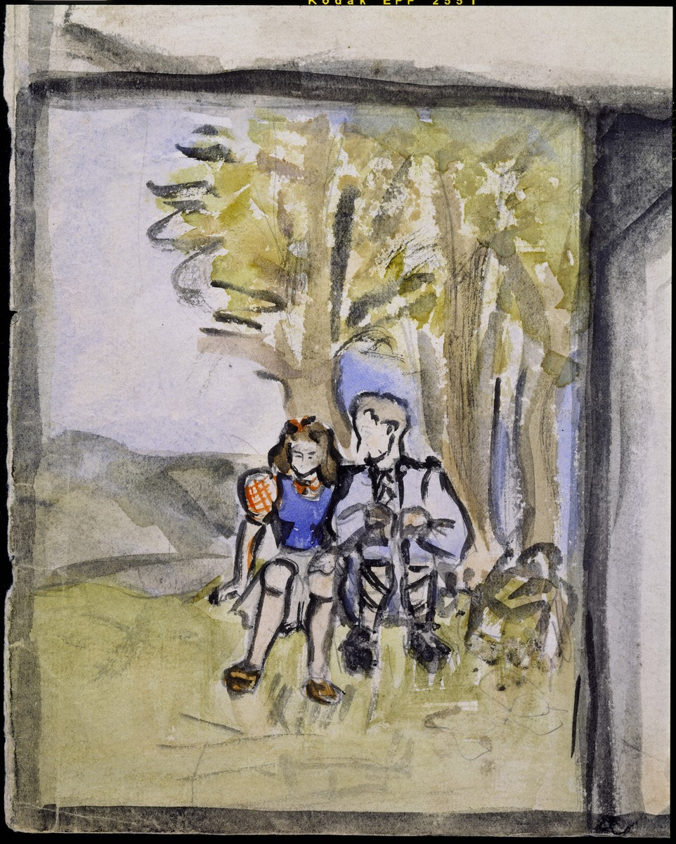 """Detail of a page of a sketchbook created by Elizabeth Kaufmann during her stay in Nazi-occupied France.   The detail is of an image entitled """"Elizabeth and Ernst under a tree."""""""