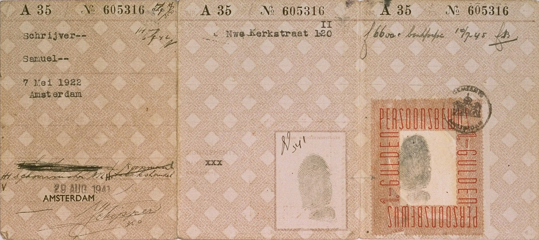 An identification document issued to Samuel Schrijver while he was working as an orderly at the Jewish hospital in Amsterdam.