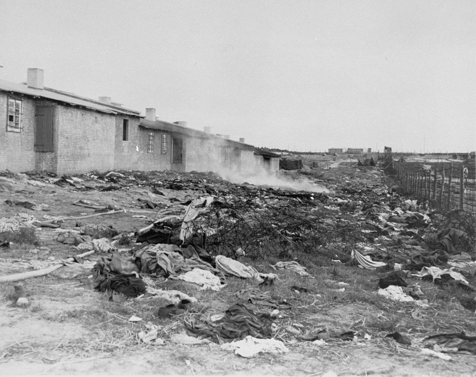 A littered section of Bergen-Belsen concentration camp.