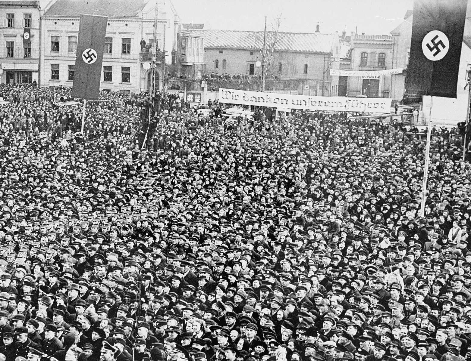 A huge crowd of Germans in Danzig assemble to hear a speech by Adolf Hitler.