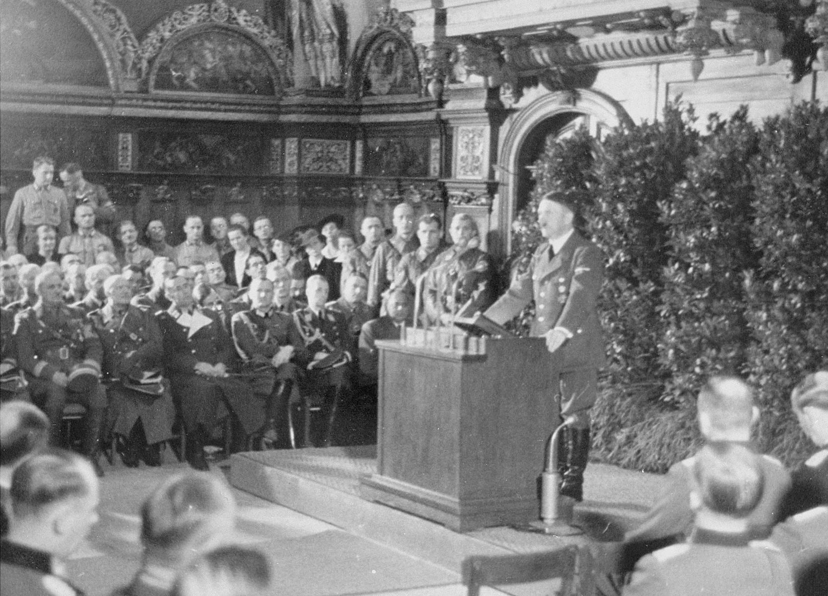 Adolf Hitler addresses an audience in Danzig.