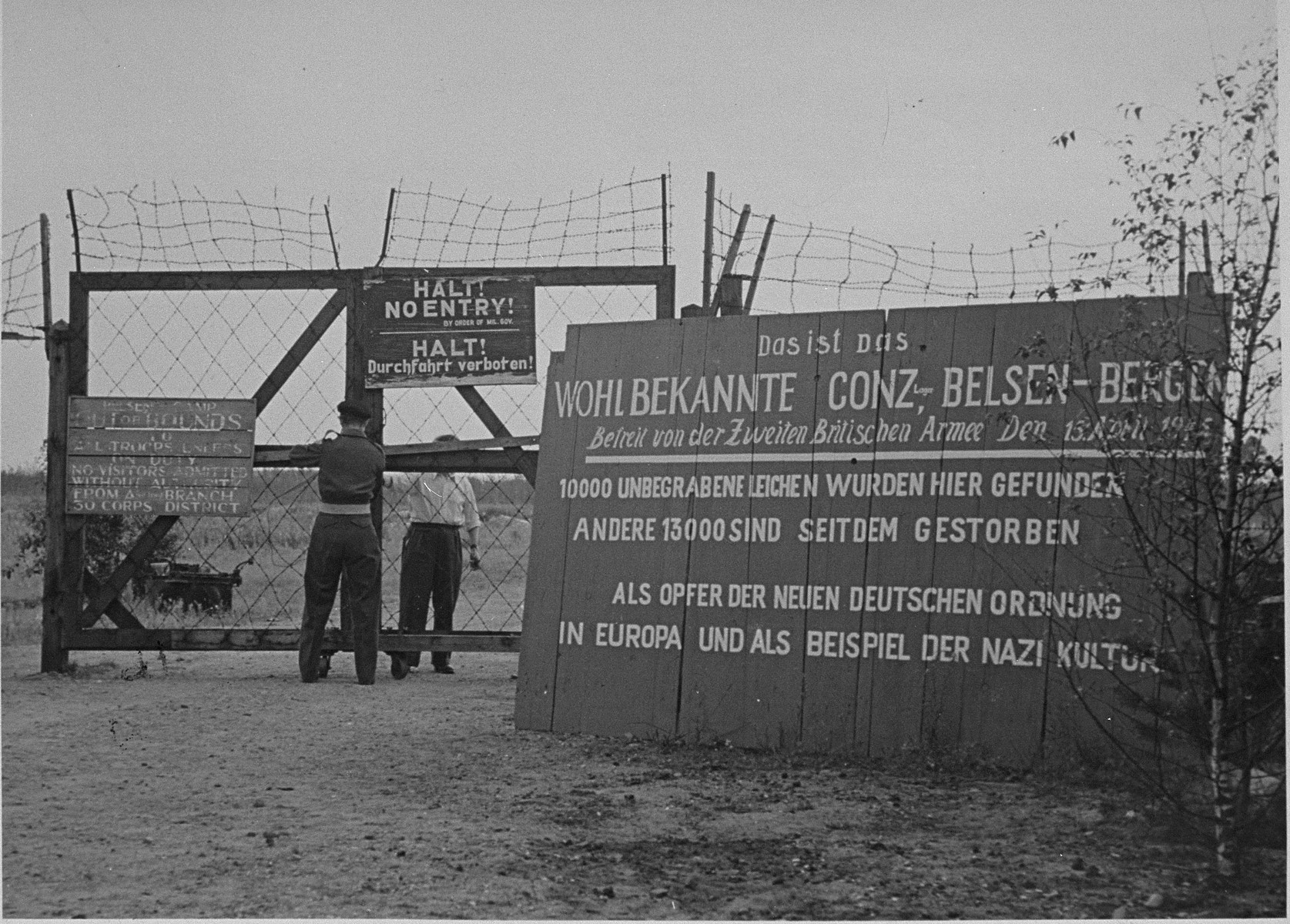 A sign erected by the British Army at the entrance to Bergen-Belsen concentration camp.  The sign has since disappeared.