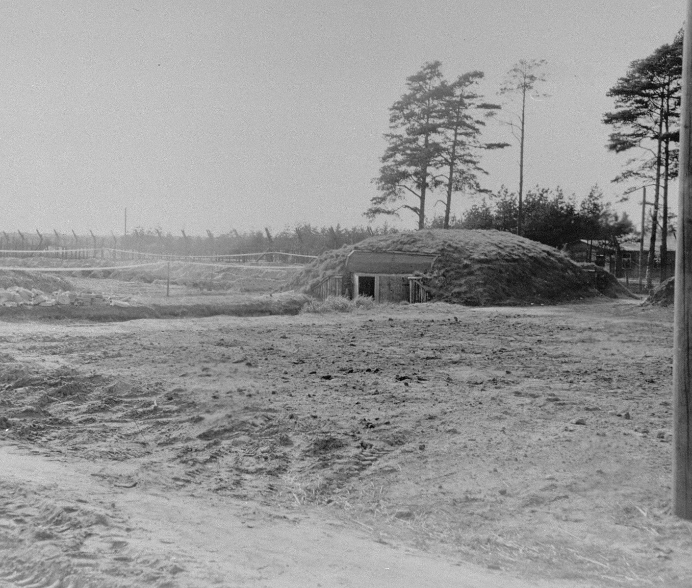 A German fire house located in Bergen Belsen.  The facility was there for looks only, and was never used by the Germans.