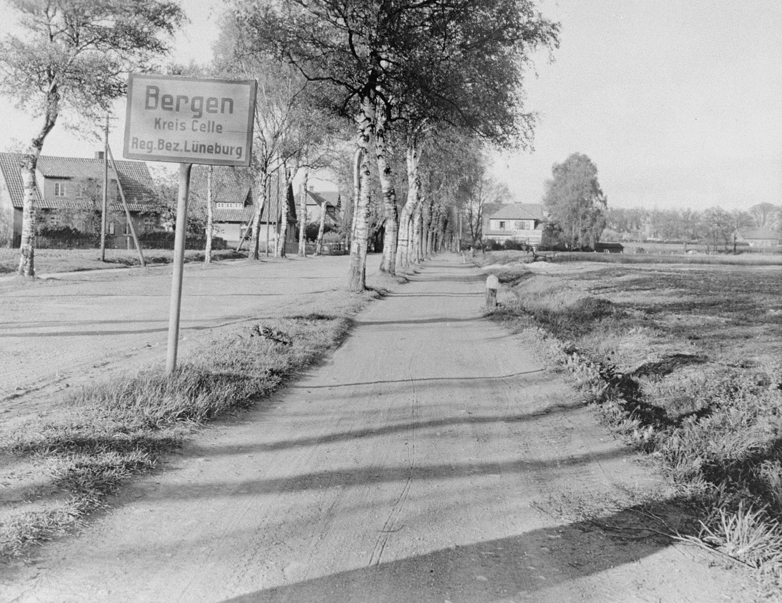 A road sign at the entrance to the village of Bergen, Germany, which lies only a few miles from the Bergen-Belsen concentration camp.