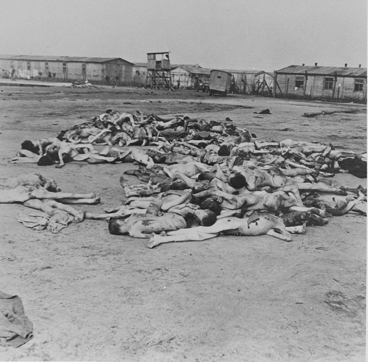 Corpses lie in an open area in Bergen-Belsen concentration camp.