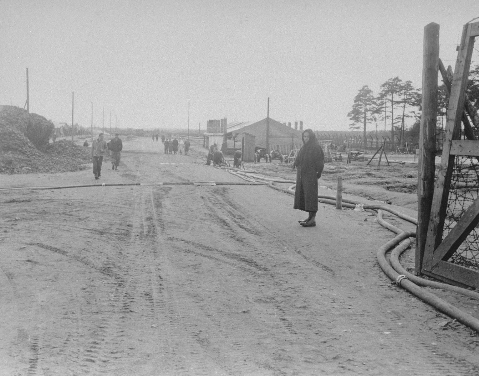 The main camp street in Bergen-Belsen.