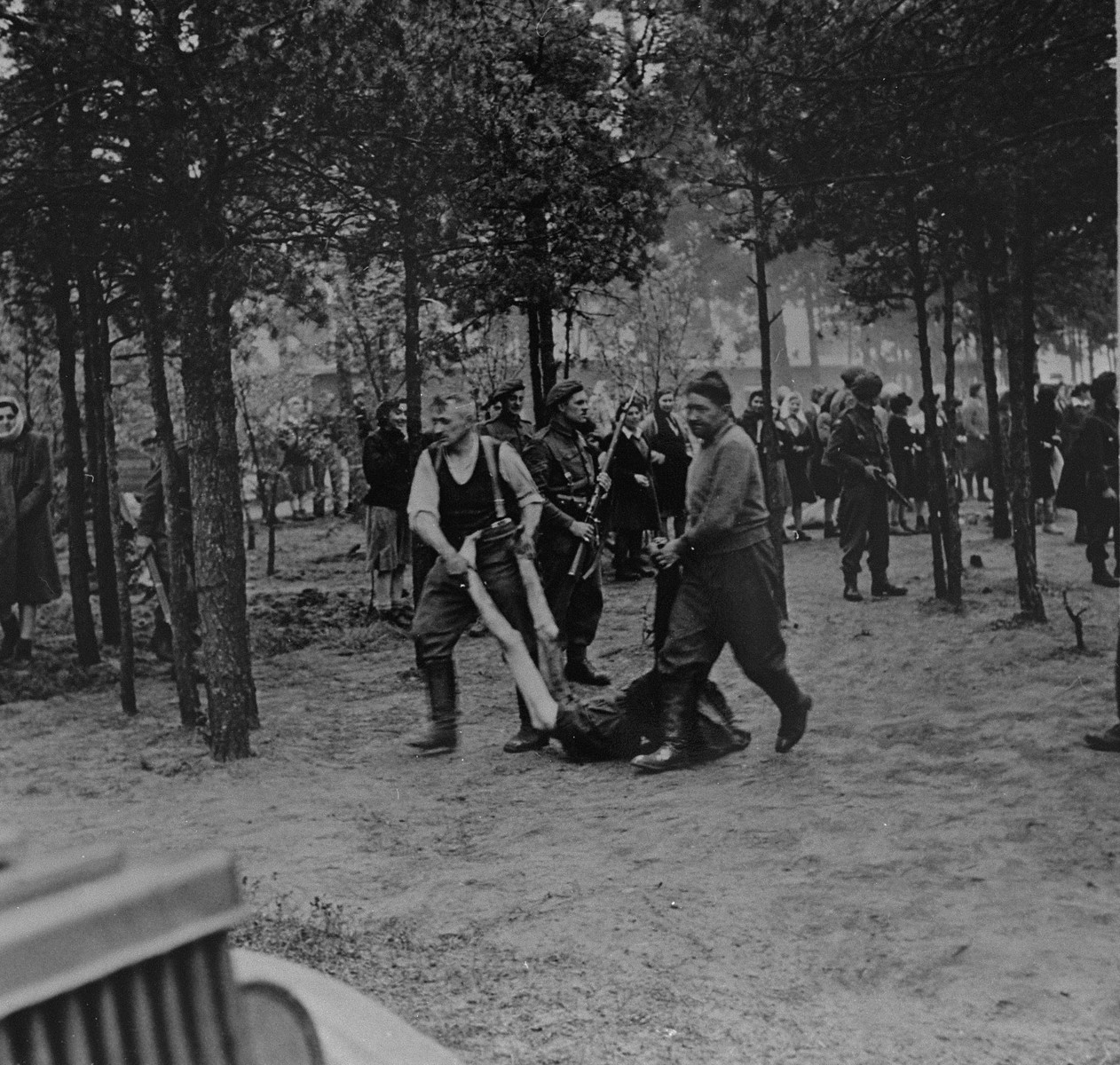 British soldiers force former SS guards to remove for burial the corpses of prisoners killed in Bergen-Belsen concentration camp.