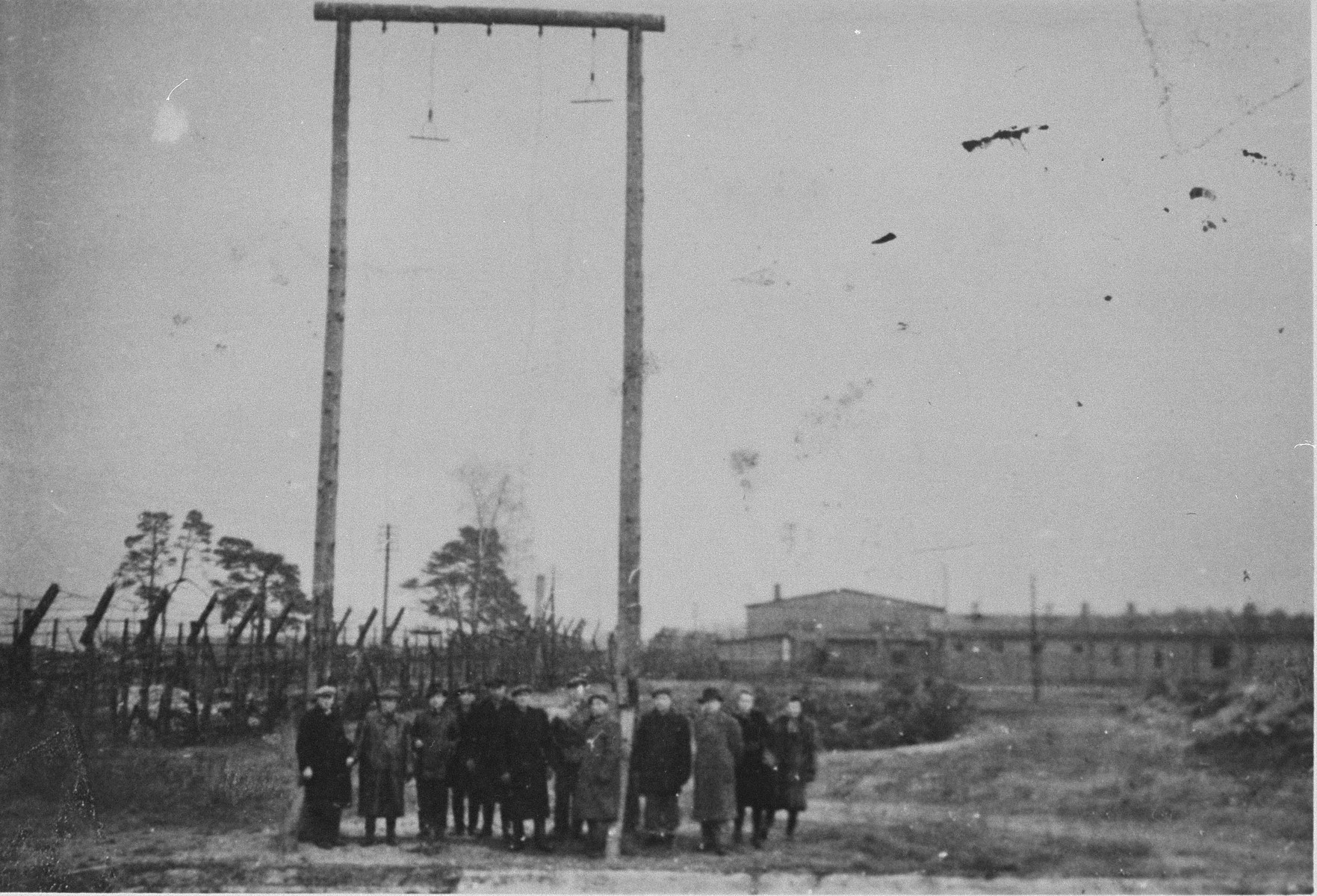 A gallows in Bergen-Belsen after liberation.