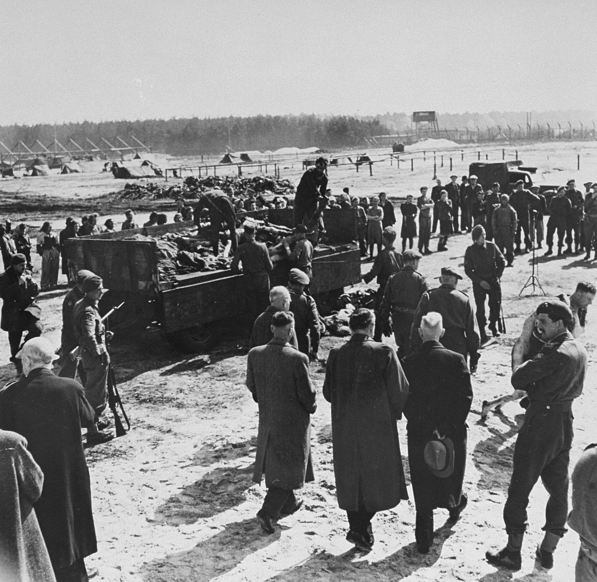 Burgermeisters from towns close to Bergen-Belsen are confronted with Nazi crimes by British officers.