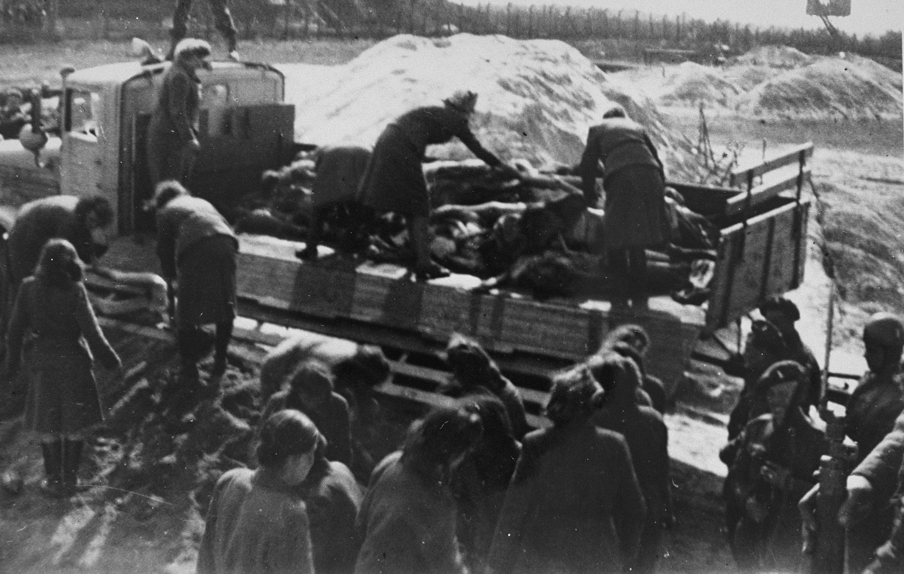 Former camp personnel unload a truckload of corpses into a mass grave.