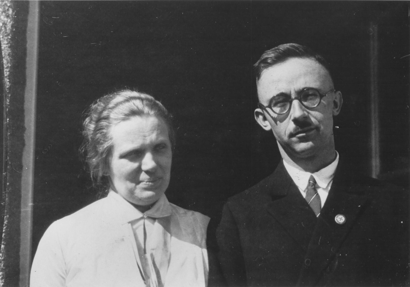 Portrait of Heinrich and Margarete Himmler on their chicken farm in Waldtrudering near Munich.