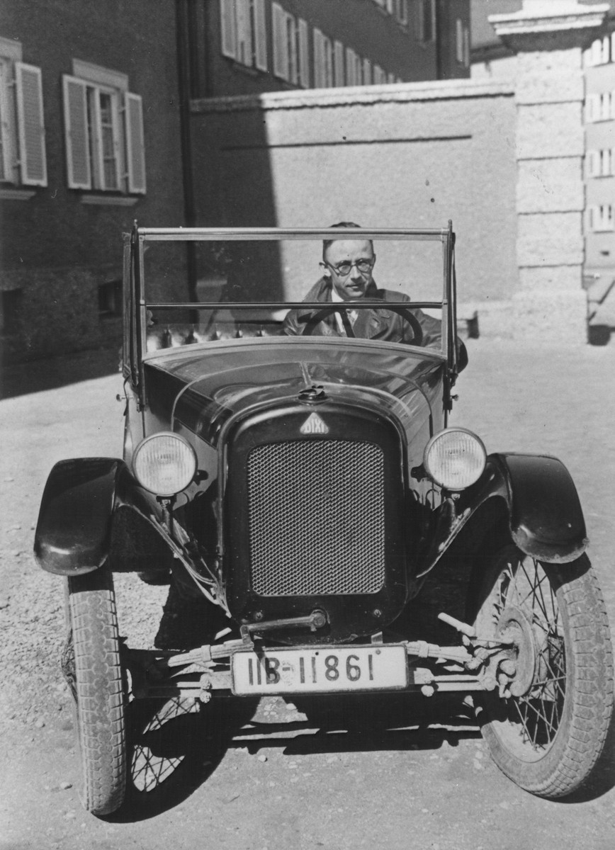 Heinrich Himmler driving his first automobile.