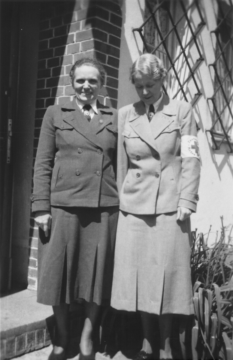 Margarete Himmler (left) poses with a colleague in the German Red Cross.  During World War II Margarete Himmler held a post in the German Red Cross inspecting field stations.