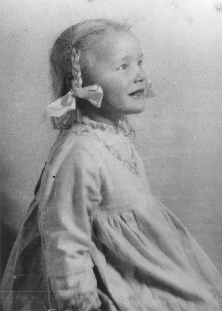 Studio portrait of Gudrun Himmler (b. 1929), daughter of Heinrich Himmler.