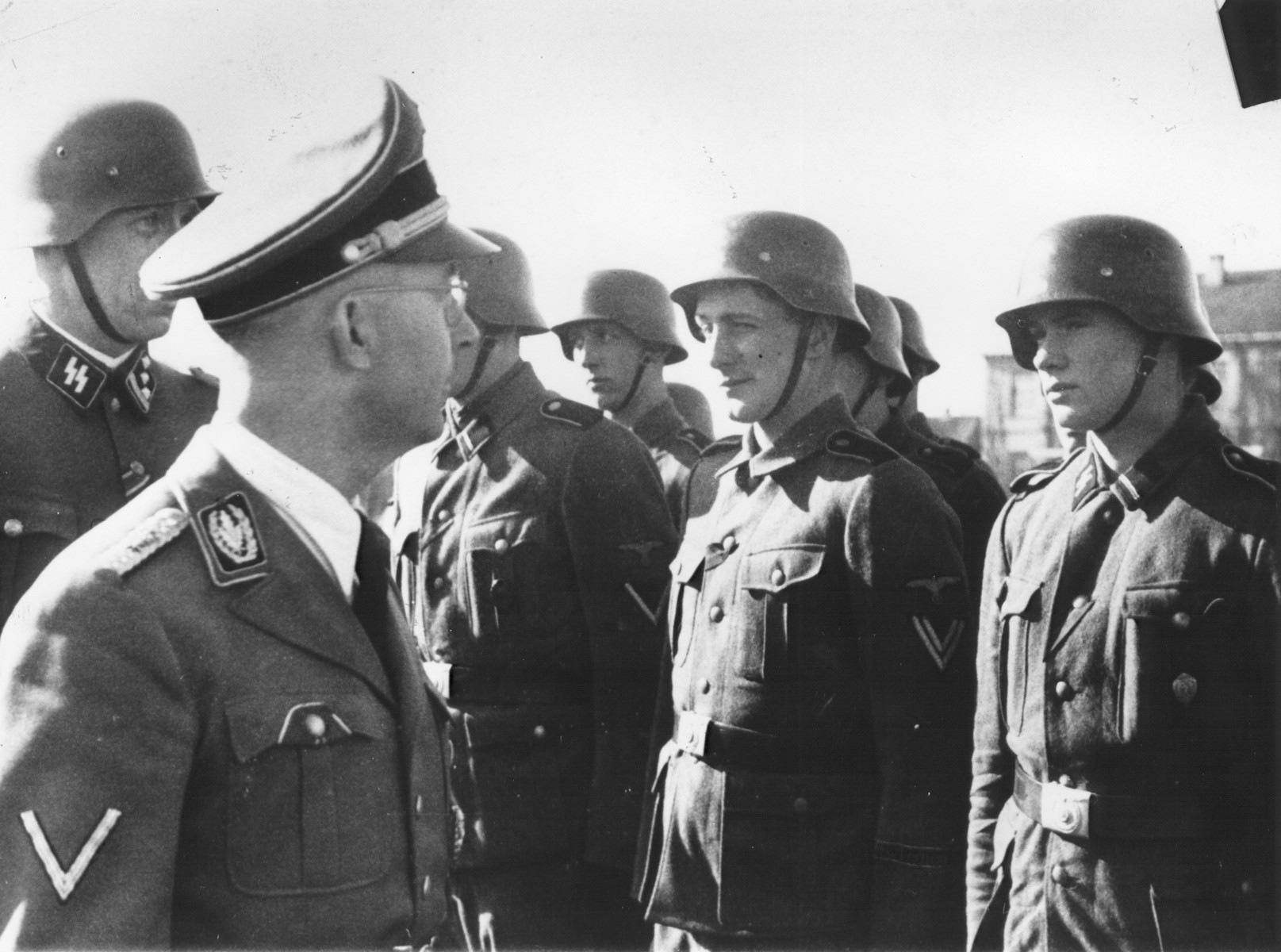 Reichsfuehrer-SS Heinrich Himmler reviews members of the volunteer Norwegian legion of the Waffen-SS.
