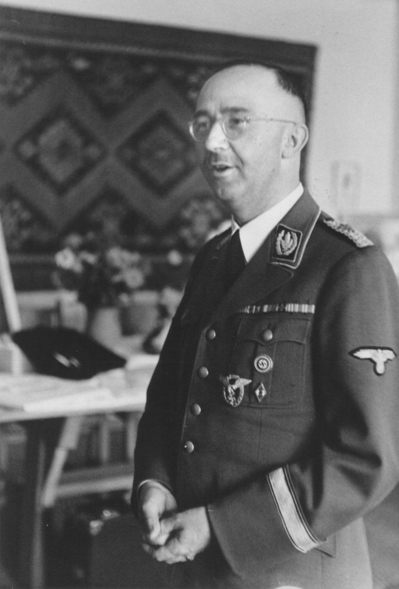 Portrait of Reichsfuehrer-SS Heinrich Himmler on his birthday in his office at SS headquarters in the Hegewald bei Zhitomir compound.