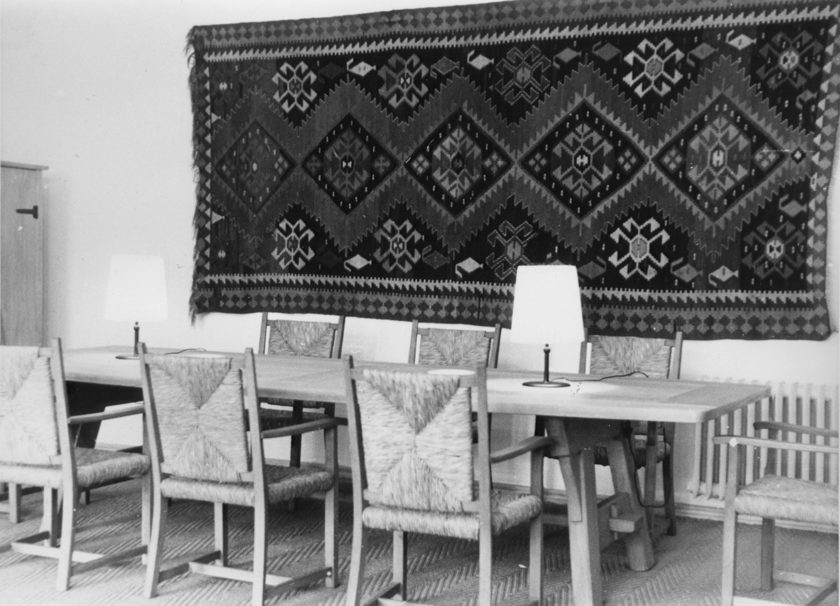 View of Himmler's study at SS headquarters in the Hegewald bei Zhitomir compound.