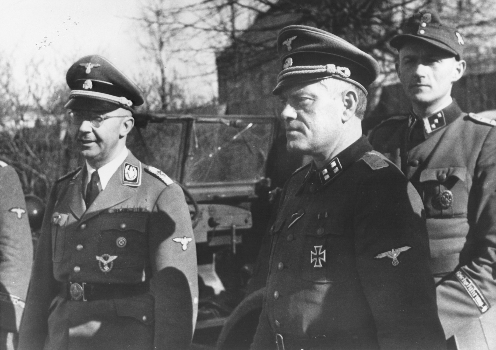Reichsfuehrer-SS Heinrich Himmler (left) stands with Polizeiminister Jonas Lie who held temporary command of the Norwegian Legion.
