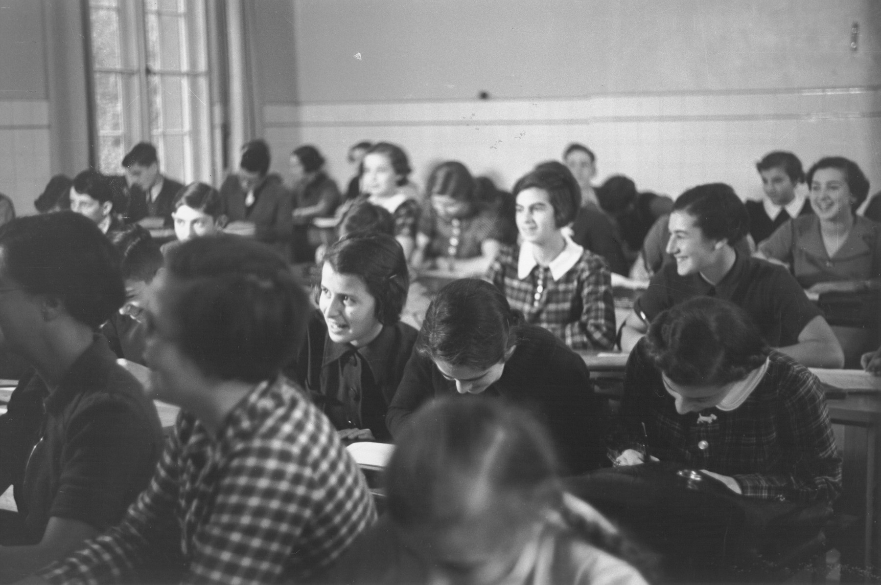 Teenage students attend a class at the Goldschmidt Jewish private school in Berlin-Grunewald.