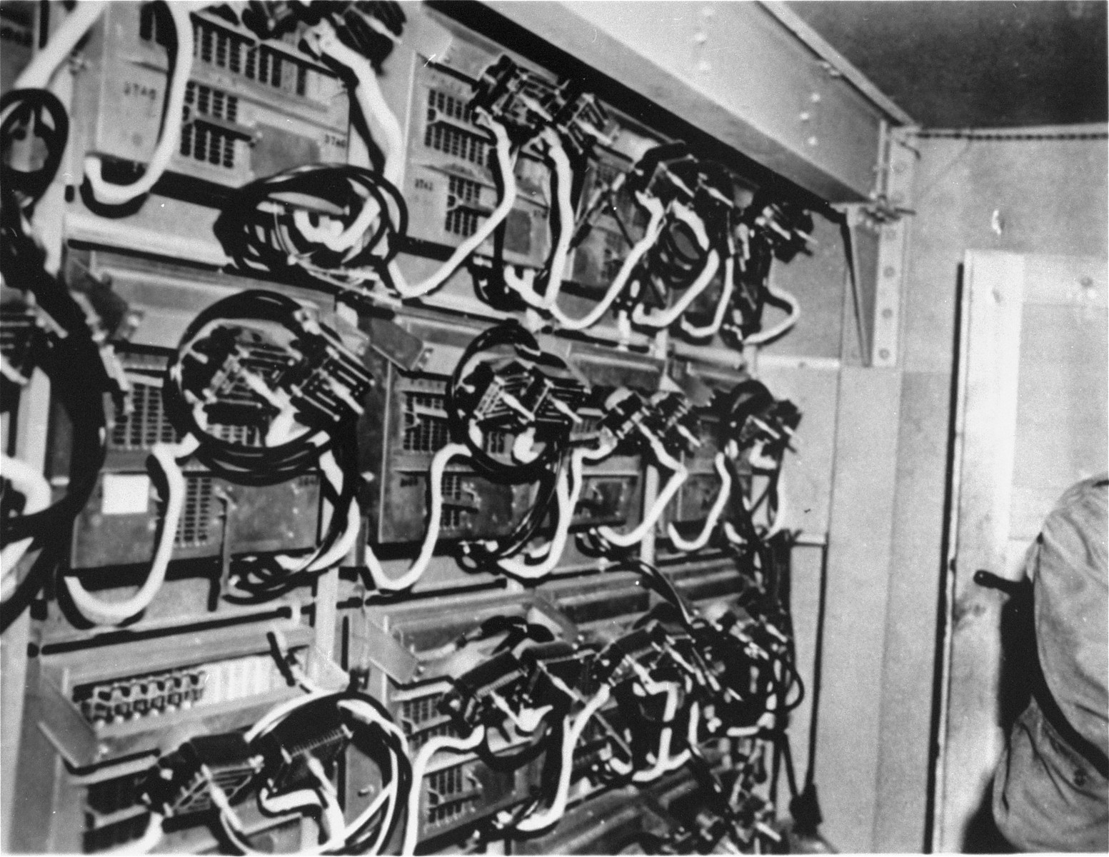 Central junction boxes on a test board in the central test room of the underground factory at Dora-Mittelbau.