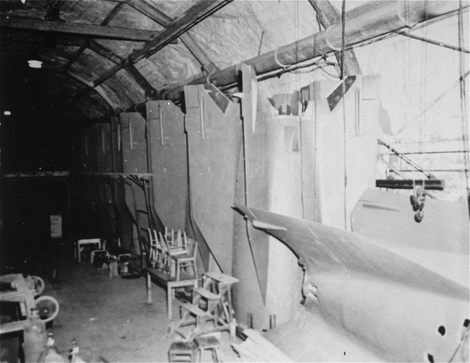 Tail fins of V-2 rockets on the tail section assembly line.