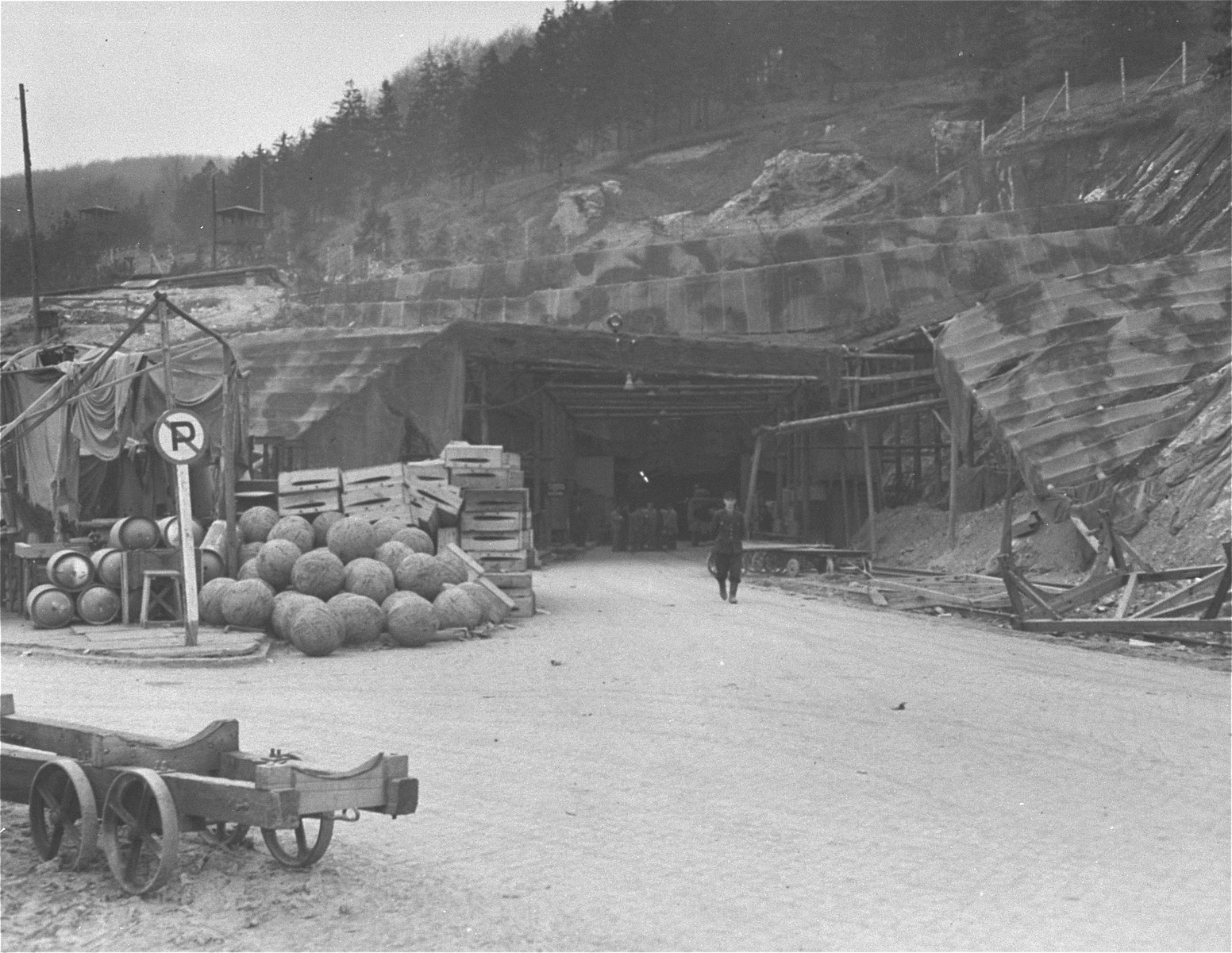 The camoflaged entrance to the underground rocket factory at Dora-Mittelbau.