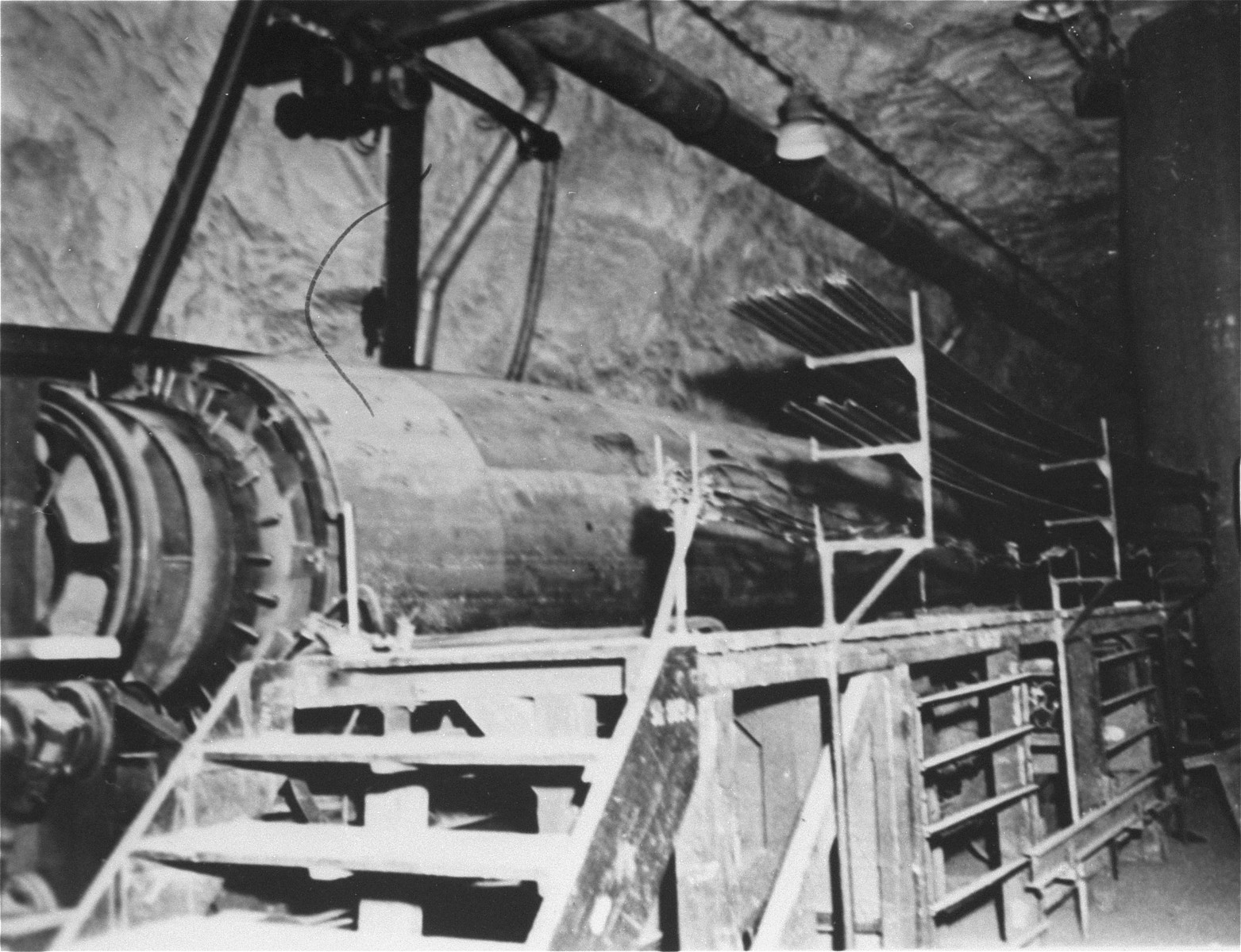 A large jig in the underground rocket plant, which was used to weld stringers to the skin.