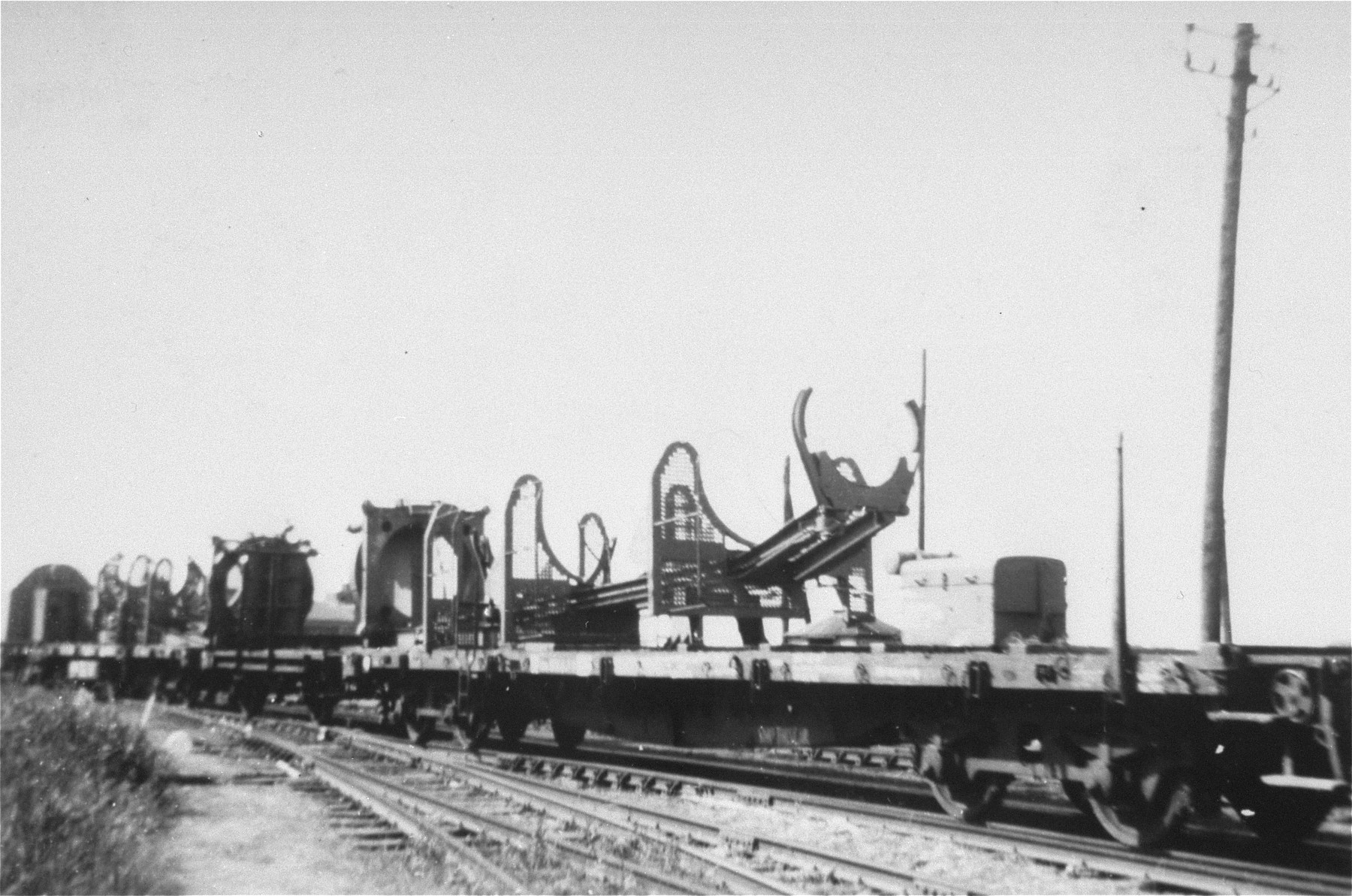 V-2 rocket launchers that were removed from Dora-Mittlebau, on route to Antwerp where they will be trans-shipped to the United States.