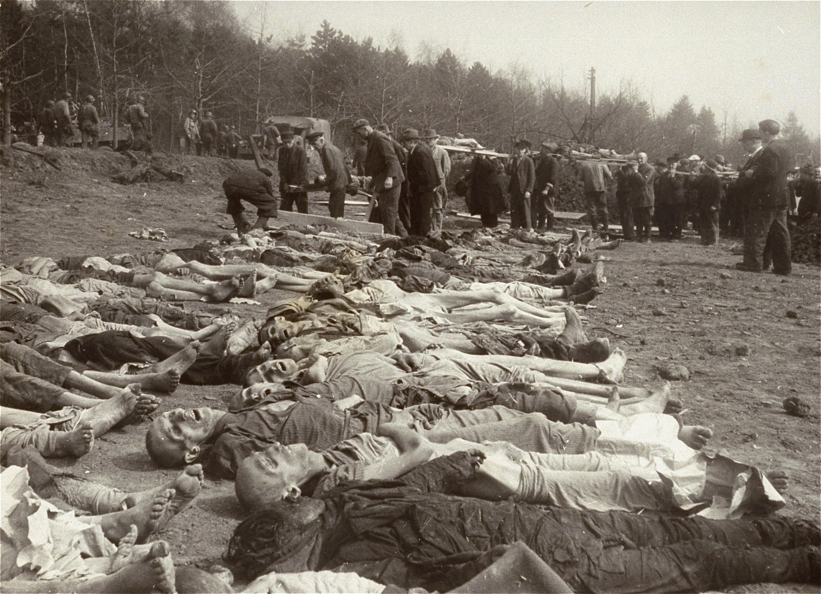 "German civilians bring corpses from the Nordhausen concentration camp to a nearby burial site.  The original caption reads ""German civilians remove the bodies of the massacred at the murder camp.  The Military Government officer at Nordhausen, Major David Paulette of Farmville, Virginia, ordered the bourgemeister to round up 600 men to dig graves for the 2,500 slain political prisoners and bury them.  Polish survivors, however, would not permit the Germans to touch their dead."""