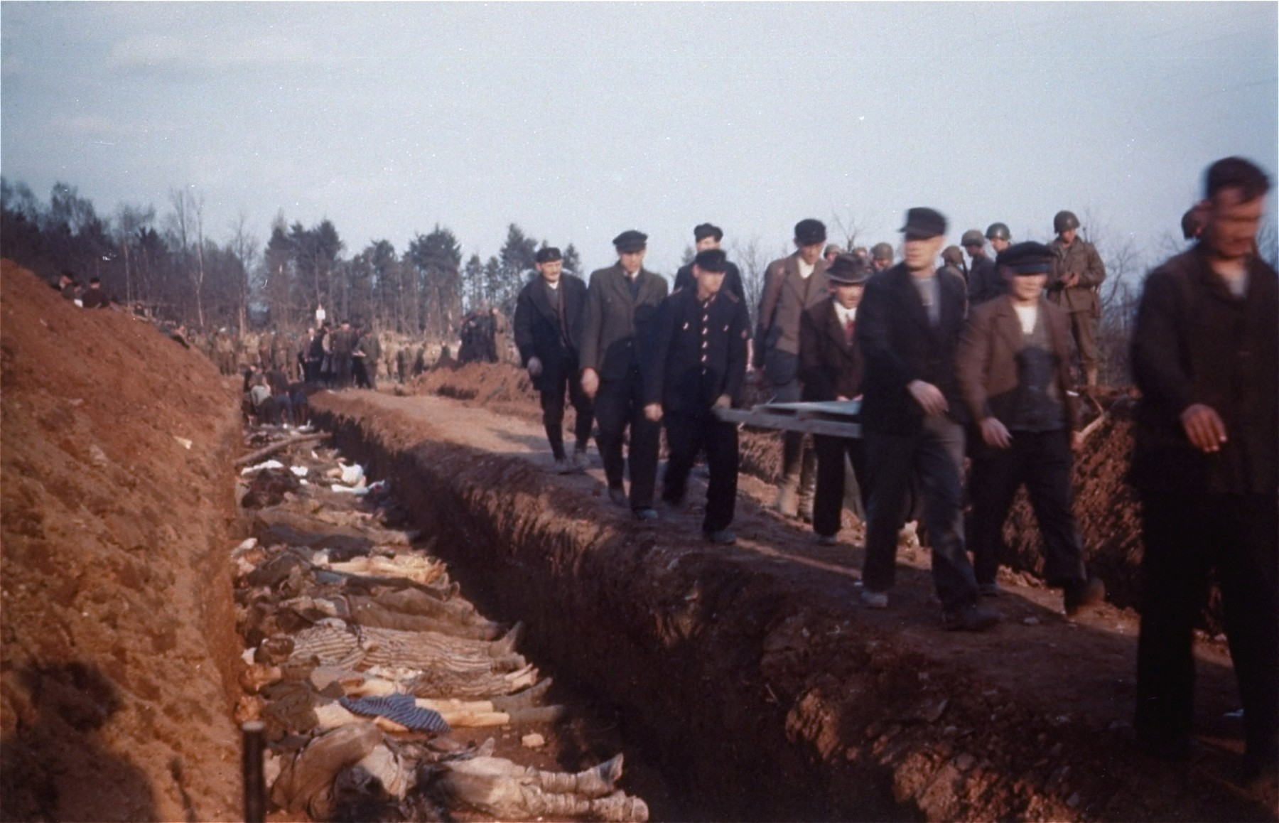 German civilians from the town of Nordhausen carry the bodies of prisoners found in the Nordhausen concentration camp to mass graves for burial.