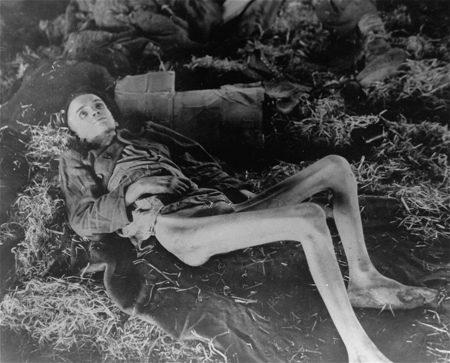 "An emaciated survivor lies inside a barrack on a pile of straw in the newly liberated Nordhausen concentration camp.  He died shortly thereafter.  The original caption reads:  ""Lifeless eyes stare from the broken starved body of a slave laborer who died at the Nordhausen camp.  Hundreds of emaciated men, too weak to move, were found on the barracks floor among their dead.  Russian, Polish, French, Beligan, and Italian captives were forced to work for the Hitler war machine until they starved to death or were shot."""