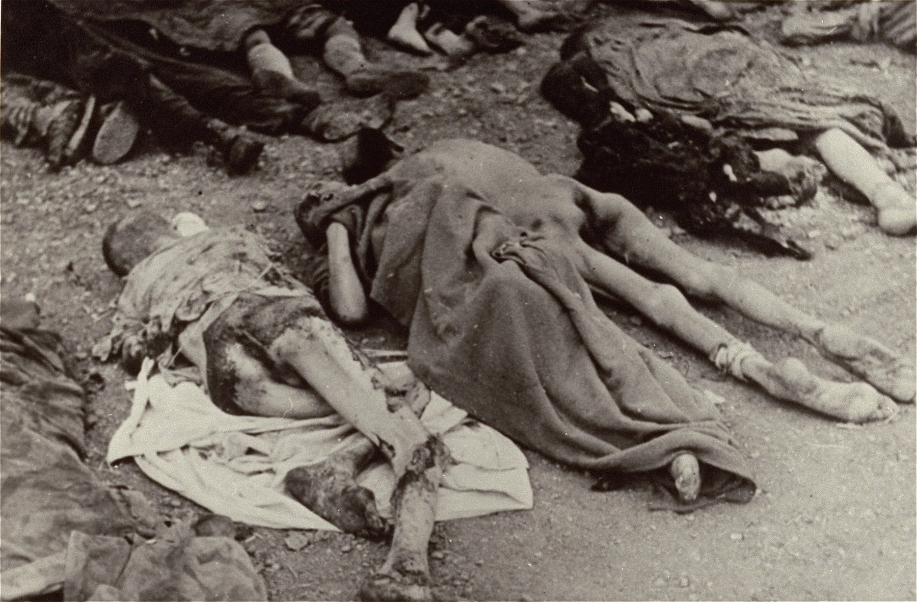 Corpses lie in rows in the Nordhausen concentration camp prior to their burial..